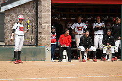 06 April 2013:  Lauren Kellar in the on deck circle by the Birdhouse during an NCAA Division 1 Missouri Valley Conference (MVC) women's softball game between the Drake Bulldogs and the Illinois State Redbirds on Marian Kneer Field in Normal IL