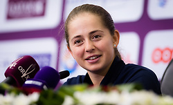 February 12, 2019 - Doha, QATAR - Jelena Ostapenko of Latvia talks to the media after the first round at the 2019 Qatar Total Open WTA Premier tennis tournament (Credit Image: © AFP7 via ZUMA Wire)