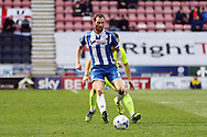 Chris McCann of Wigan Athletic in action. Skybet football league one match , Wigan Athletic v Southend Utd at the DW Stadium in Wigan, Lancs on Saturday 23rd April 2016.<br /> pic by Chris Stading, Andrew Orchard sports photography.