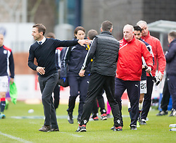 Dundee's manager Neil McCann and Ross County's manager Jim McIntrye at the end. Dundee 1 v 1 Ross County, SPFL Ladbrokes Premiership played 13/5/2017 at Dens Park.