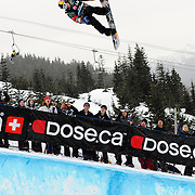 """Swiss National Snowboard Team member Iouri """"Ipod"""" Podladchikov competes in the half pipe during finals at the 2009 LG Snowboard FIS World Cup at Cypress Mountain, British Columbia, on February 16th, 2009. Podladchikov finished 3rd in a field of 70, capturing the Bronze medal."""