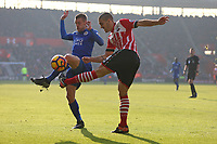 Football - 2016 / 2017 Premier League - Southampton vs. Leicester City<br /> <br /> Jamie Vardy of Leicester City blocks a clearance from Southampton's Oriol Romeu at St Mary's Stadium Southampton England<br /> <br /> COLORSPORT/SHAUN BOGGUST