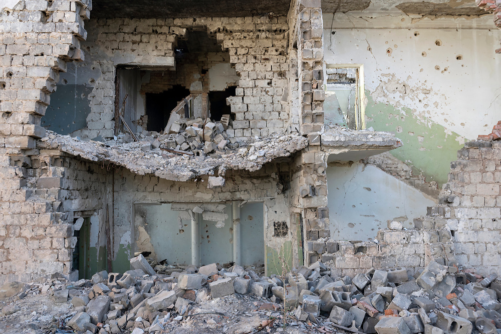Destroyed building at a psychiatric hospital on the outskirts of Sloviansk, Ukraine. The hospital was completely destroyed during fighting between Ukrainian and separatist forces in 2014.