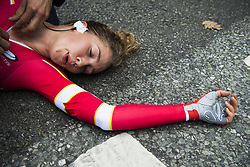 September 19, 2017 - Bergen, Norway -  Cecilie Uttrup Ludwig is exhausted after crossing the finish line during the Women Elite Individual Time Trial on September 19, 2017 in Bergen. (Credit Image: © Jon Olav Nesvold/Bildbyran via ZUMA Wire)