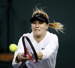 March 7, 2019 - Los Angeles, California, U.S - Kristen Flipkens of Belgium, returns the ball to Eugenie Bouchard of Canada during the women singles first round match of the BNP Paribas Open tennis tournament on Thursday, March 7, 2019 in Indian Wells, California. (Credit Image: © Ringo Chiu/ZUMA Wire)