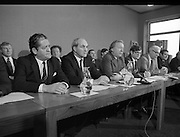 Fianna Fáil Front Bench at Press Conference January 1982..1982-01-14.14th January 1982..14/01/1982.01.14.82...Charles Haughey presents his front bench to the waiting media..Pictured at Leinster House..Front row From Left: ..Brian Lenihan TD:..George Colley TD: Deputy Leader and Spokesman on Energy..Charles Haughey TD: Leader of the Opposition..Ray Burke TD: Leader of the House..Sean Moore TD: Spokesman on Social Welfare..Gene Fitzgerald TD: Spokesman on Labour and Public Service..Martin O'Donoghue TD: Spokesman on Finance..Included in back row from left:...First- Sean Doherty TD...