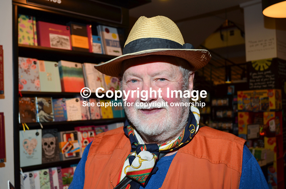 Charles Fitzgerald, aka Charlie Fitzgerald, one of the more colourful charactors in Irish journalism, returned to Belfast, N Ireland, UK, to attend the Waterstones Belfast launch of Crossing the Line - My Life on the Edge - by Belfast-born author and journalist, Martin Dillon, 22nd September 2017, 201709214607<br /> <br /> Copyright Image from Victor Patterson, Belfast, UK<br /> <br /> t: +44 28 9066 1296 (from Rep of Ireland 048 9066 1296)<br /> m: +44 7802 353836<br /> e: victorpattersonbelfast@gmail.com<br /> <br /> www.images4media.com<br /> <br /> Please see my full Terms and Conditions of Use at https://www.images4media.com/p/terms-conditions - it is IMPORTANT that you familiarise yourself with them.<br /> <br /> Images used online incur an additional cost. This cost should be agreed in writing in advance. Online images must be visibly watermarked i.e. © Victor Patterson or that of the named photographer within the body of the image. The original metadata must not be deleted from images used online.<br /> <br /> This image is only available for the use of the download recipient i.e. television station, newspaper, magazine, book publisher, etc, and must not be passed on to a third party. It is also downloaded on condition that each and every usage is notified within 7 days to victorpattersonbelfast@gmail.com.<br /> <br /> The right of Victor Patterson (or the named photographer) to be identified as the author is asserted in accordance with The Copyright Designs And Patents Act (1988). All moral rights are asserted.