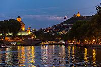 Tbilisi and Kuri river cityscape at night capital city  of Georgia eastern Europe