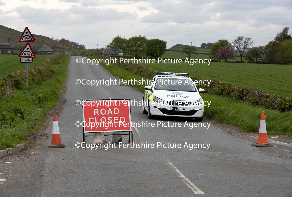 Unexplained death of a woman on B8062 between Auchterarder and Dunning….11.05.18<br />A Police Scotland roadblock on the B8062 after the death of a woman who was found in wooded area at the roadside at 12.05pm yesterday (Thursday 10 May) which is being treated as unexplained<br />Picture by Graeme Hart.<br />Copyright Perthshire Picture Agency<br />Tel: 01738 623350  Mobile: 07990 594431