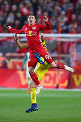 November 11, 2018 - Harrison, NJ, U.S. - Harrison, NJ - NOVEMBER 11:  New York Red Bulls midfielder Alex Muyl (19) goes airborne and is kicked during the second half of the Major League Soccer Eastern Conference Semifinals between the Columbus Crew SC and the NY Red Bulls on November 11, 2018 at Red Bull Arena in Harrison, NJ.   (Photo by Rich Graessle/Icon Sportswire) (Credit Image: © Rich Graessle/Icon SMI via ZUMA Press)