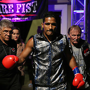 Yamaguchi Falcao fights against Taronze Washington during a Fire Fist Boxing Promotions boxing match at the A La Carte Pavilion on Saturday, August 12 , 2017 in Tampa, Florida.  (Alex Menendez via AP)