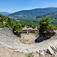 The Greek styled ancient Hellenistic theatre at the Lycian city of Arykanda, in the Antalya province of Southern Turkey.
