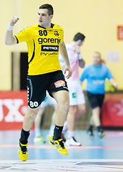 Kristian Beciri of Gorenje during handball match between RK Gorenje Velenje and HSV Hamburg (GER) in 8th Round of EHF Champions League 2014 on February 5, 2014 in Rdeca Dvorana, Velenje, Slovenia. Photo by Vid Ponikvar / Sportida