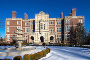 """The Crocker Mansion in Mahwah, New Jersey, a 55,000 square foot single family home built by architect James Brite in 1908. It is on the National Register of Historic Places. Constructed of Indiana limestone and Harvard brick, the home is also named """"Darlington."""""""