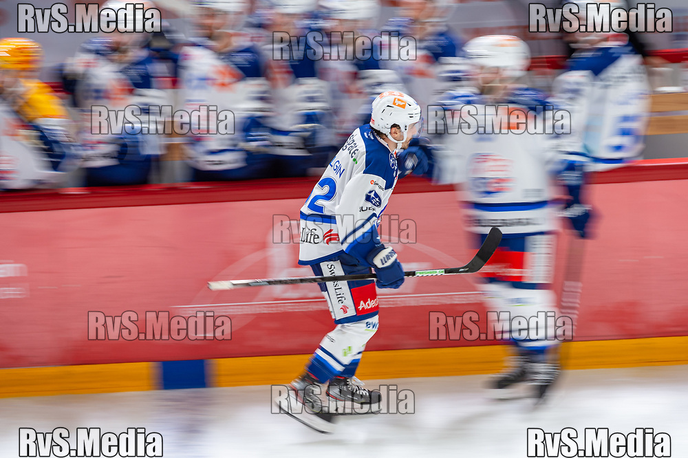LAUSANNE, SWITZERLAND - OCTOBER 01: Denis Malgin #62 of ZSC Lions celebrates his goal with teammates during the Swiss National League game between Lausanne HC and ZSC Lions at Vaudoise Arena on October 1, 2021 in Lausanne, Switzerland. (Photo by Robert Hradil/RvS.Media)