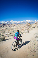 Mountain biking in the Alabama Hills, California.