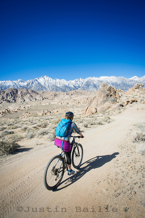 Mountain biking in the Alabama Hills, California.