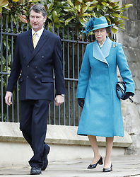Vice Admiral Sir Timothy Laurence and the Princess Royal, arrive for the Easter Mattins Service at St George's Chapel, Windsor Castle, Windsor.
