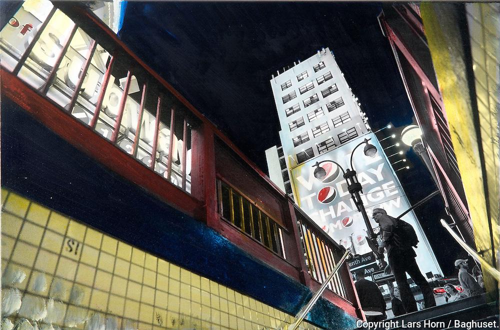 NYC in Colors.  Horn/Andersen<br /> Subway up    60x90Kr.     5.000,-<br /> Solgt / Sold<br /> Foto: © Lars Horn / Baghuset<br /> Date : 15.07.13