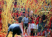 Alex Ferguson (Utd Manager) celebrates with the team as the streamers rain down on them. Manchester United v Arsenal. Community Shield.10/8/03. Millennium Stadium. Credit : Colorsport/Andrew Cowie.