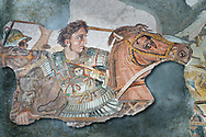 Alexander the Great from the Roman mosaic  of Battle beween Alexander the Great and Persian King Darius, 120-125 BC, Casa del Fauno, Pompeii, inv 10020, Naples National Archaeological Museum.  Wall art print by Photographer Paul E Williams If you prefer visit our World Gallery Print Shop To buy a selection of our prints and framed prints desptached  with a 30-day money-back guarantee and is dispatched from 16 high quality photo art printers based around the world. ( not all photos in this archive are available in this shop) https://funkystock.photoshelter.com/p/world-print-gallery .<br /> <br /> USEFUL LINKS:<br /> Visit our other HISTORIC AND ANCIENT ART COLLECTIONS for more photos to buy as wall art prints  https://funkystock.photoshelter.com/gallery-collection/Ancient-Historic-Art-Photo-Wall-Art-Prints-by-Photographer-Paul-E-Williams/C00002uapXzaCx7Y