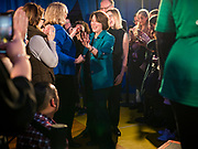 01 FEBRUARY 2020 - DES MOINES, IOWA: US Senator AMY KLOBUCHAR (D-MN) walks into a campaign event in Des Moines. Sen. Klobuchar campaigned to support her candidacy for the US Presidency Saturday in Iowa. She is trying to capitalize on her recent uptick in national polls. Iowa holds the first selection event of the presidential election cycle. The Iowa Caucuses are Feb. 3, 2020.             PHOTO BY JACK KURTZ
