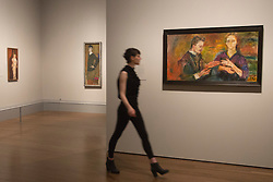 "© Licensed to London News Pictures. 08/10/2013. London, England. Pictured: Portrait of Hans Tietze and Erica Tietze-Conrat by Oskar Kokoschka, 1909. This autumn, the National Gallery presents the UK's first major exhibition devoted to Viennese portraiture - ""Facing the Modern: The Portrait in Vienna 1900"". From 9 October 2013 to 12 January 2014 portraits by artists such as Gustav Klimt, Oskar Kokoschka, Egon Schiele and Richard Gerstl will be on display. Photo credit: Bettina Strenske/LNP"