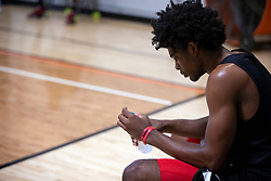 G League Ignite's Scoot Henderson takes a breather between drills during a practice with the team on Tuesday, Sept. 28, 2021 in Walnut Creek, Calif.