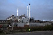 Chimneys and industrial buildings, Bird's Eye factory, Lowestoft, Suffolk, England