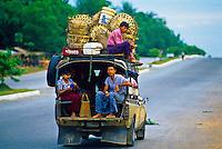 Public transportation, Bandar Gone, on the Yangon-Bago Highway, Burma (Myanmar)