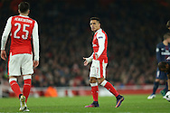 Alexis Sanchez of Arsenal looks across at Carl Jenkinson of Arsenal. UEFA Champions league group A match, Arsenal v Paris Saint Germain at the Emirates Stadium in London on Wednesday 23rd November 2016.<br /> pic by John Patrick Fletcher, Andrew Orchard sports photography.