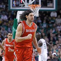 06 March 2012: Houston Rockets power forward Luis Scola (4) reacts during the Boston Celtics 97-92 (OT) victory over the Houston Rockets at the TD Garden, Boston, Massachusetts, USA.
