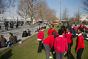 School kids at Jubilee Gardens. During weekedays it si common to see lots of different groupe of children visiting the area with their schools. The South Bank is a significant arts and entertainment district, and home to an endless list of activities for Londoners, visitors and tourists alike.