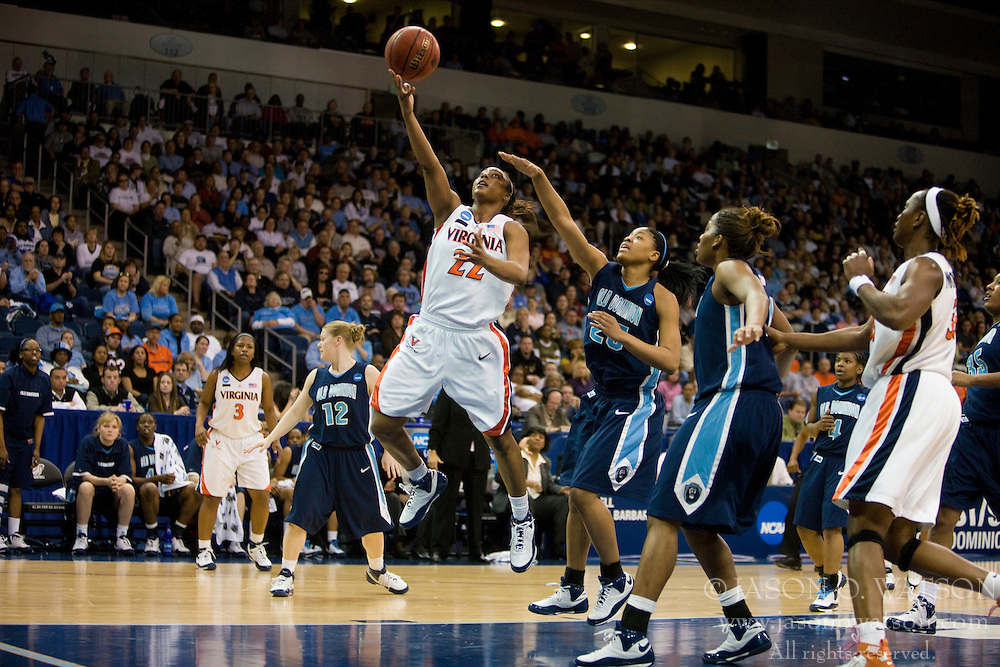 Virginia guard Monica Wright (22) beats Old Dominion forward Sierra Little (25) to the basket.  The #11 ranked / #5 seed Old Dominion Lady Monarchs defeated the #24 ranked / #4 seed Virginia Cavaliers 88-85 in overtime in the second round of the 2008 NCAA Women's Basketball Championship at the Ted Constant Convocation Center in Norfolk, VA on March 25, 2008.
