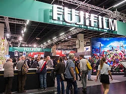 Busy Fujifilm stand at Photokina trade fair in Cologne, Germany , 2016