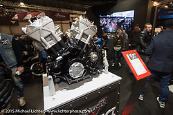 New Project 156 production motor after it's reveal in the Victory Booth during EICMA, the largest international motorcycle exhibition in the world. Milan, Italy. November 20, 2015.  Photography ©2015 Michael Lichter.