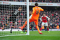 Football - 2016 / 2017 Premier League - Arsenal vs. Hull City<br /> <br /> Lucas Perez of Arsenal sees his header handled on the line by Sam Clucas of Hull at The Emirates.<br /> <br /> COLORSPORT/ANDREW COWIE