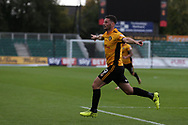 Padraig Amond of Newport county (9) celebrates after he scores his teams 1st goal. EFL Skybet football league two match, Newport county v Yeovil Town at Rodney Parade in Newport, South Wales on Saturday 7th October 2017.<br /> pic by Andrew Orchard,  Andrew Orchard sports photography.