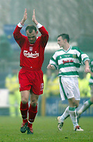 Photo. Andrew Unwin<br /> Yeovil v Liverpool, FA Cup Third Round, Huish Park, Yeovil 04/01/2004.<br /> Liverpool's Danny Murphy (l) celebrates scoring his team's second goal.