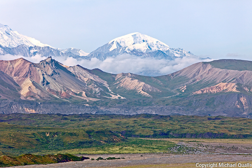 Peters Dome to the right of Denali as seen from the Eielson visitor center.