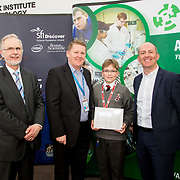 27.04.2016.          <br />  Kalin Foy and Ciara Coyle win SciFest@LIT<br /> Kalin Foy and Ciara Coyle from Colaiste Chiarain Croom to represent Limerick at Ireland's largest science competition.<br /> <br /> Villiers School student, Daniel Farushev's project, Bionicle movement implementation won the LIT INTEL SHANNON AWARD.  Daniel Farushev is  pictured with George Porter, SciFest Pat Collins, Intel and Brian Aherne, Intel<br /> <br /> Of the over 110 projects exhibited at SciFest@LIT 2016, the top prize on the day went to Kalin Foy and Ciara Coyle from Colaiste Chiarain Croom for their project, 'To design and manufacture wireless trailer lights'. The runner-up prize went to a team from John the Baptist Community School, Hospital with their project on 'Educating the Youth of Ireland about Farm Safety'.   Picture: Alan Place