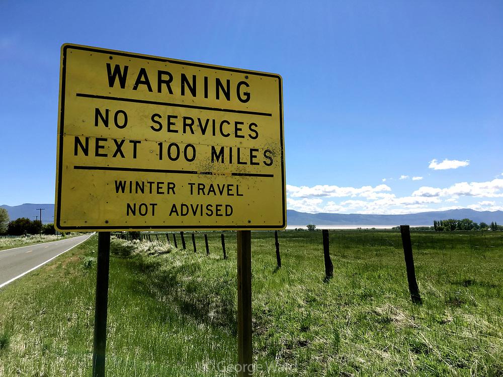 No Services next 100 Miles Sign, BLM Lands, Modoc County, California