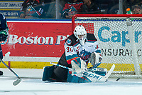 KELOWNA, BC - MARCH 6: Roman Basran #30 of the Kelowna Rockets makes a first period save against the Seattle Thunderbirds at Prospera Place on March 6, 2020 in Kelowna, Canada. (Photo by Marissa Baecker/Shoot the Breeze)