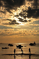 sunset over praia da armacao in the beautiful typical brazilian city of buzios near rio de janeiro in brazil