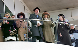 The Duchess of Cornwall (second from right) watches the races during Ladies Day of the 2018 Cheltenham Festival at Cheltenham Racecourse.