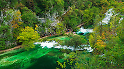 Travertine cascades and boardwalk on the Korana River, Plitvice Lakes National Park, Croatia
