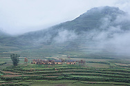 Row of farm houses in a dream-like valley village surrounded by rice terraces and rolling green hills covered in fog, Dao Ethnic Village, Ha Giang Province, Vietnam, Southeast Asia. The Dao are the 9th largest ethnic group in Vietnam, recognized by their attire of black trousers, red or black jackets with embroidered borders, a black or red turban and chunky silver jewelry.