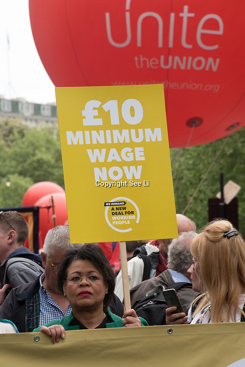 """Thousands or people join the TUC march in London for """"A new deal for working people"""" on 12 May 2018, London, UK"""