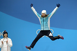 February 12, 2018 - Pyeongchang, South Korea - YULIA GALYSHEVA of Kazakhstan celebrates winning the bronze medal in the Ladies' Moguls event in the PyeongChang Olympic games. (Credit Image: © Christopher Levy via ZUMA Wire)