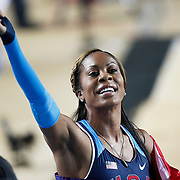 Richards-Ross of U.S. holds a national flag after finish in women's 400 metres final during the IAAF World Indoor Championships at the Atakoy Athletics Arena, Istanbul, Turkey. Photo by TURKPIX